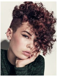 Curly Undercut, Curly Pixie Haircuts, Curly Hair Cuts, Undercut Hairstyles, Curled Hairstyles, Short Hair Cuts, Short Hair Styles, Shaved Curly Hair, Short Black Curly Hairstyles