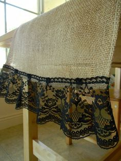 Shabby Chic Table Runner - Burlap and Black Lace