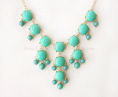 Aqua / Turquoise (S) - Small Size Smooth Bubble Statement Necklace - 20mm - Gold Tone. $25.00, via Etsy.