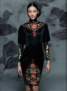 Gorgeous black dress with traditional Russian floral pattern