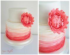 Round Wedding Cakes - Coral Wedding Cake http://www.facebook.com/sugarruffles