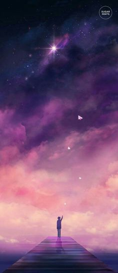 Anime person, dock, galaxy, sunset, stars, paper airplane; Anime Scenery