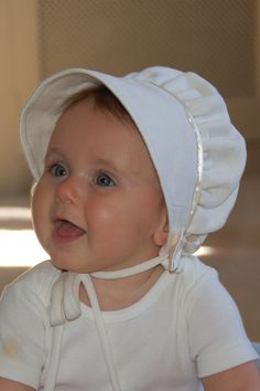 Cream Corduroy Baby Bonnet by norabeesbonnets on Etsy, $48.00