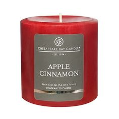 Chesapeake Bay Candle Apple Cinnamon Satin (215 RUB) ❤ liked on Polyvore featuring home, home decor, red, red home decor and apple home decor