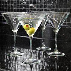 Martini Glasses (Set of 4) with Monogram - $39