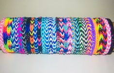 Items similar to Rainbow Loom rubber band stretch bracelet lot of 25 fishtail pattern made to order you choose colors on Etsy Rainbow Loom Bands, Rainbow Loom Bracelets, Rainbow Colors In Order, Rainbow Loom Organizer, Braclets Diy, Rainbow Loom Fishtail, Rainbow Loom Patterns, Loom Craft, Rubber Band Bracelet
