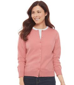 Fine-Gauge Sweater, Button-Front Cardigan: Cardigans   Free Shipping at L.L.Bean