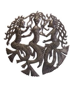 Le Primitif Galleries Haitian Recycled Steel Oil Drum Outdoor Decor, 23 by Dancing Mermaids *** Details can be found by clicking on the image. (This is an affiliate link and I receive a commission for the sales) Starburst Wall Decor, Medallion Wall Decor, Mermaid Wall Decor, Mermaid Art, Blue Jellyfish, Outdoor Wall Art, Oil Drum, Geometric Wall, Metal Wall Decor