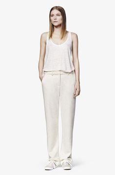 Full Length Front Crease Pants, Cotton Terry, Heather Ivory — Atea Oceanie