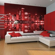 """Trwała, odporna na wodę i zarysowania flizelinowa fototapeta """"Chicago w kolorze wina"""" do przyklejenia na ścianę. Fototapeta """"Chicago w kolorze wina"""" z inspirującym motywem będzie efektowną ozdobą każdego pomieszczenia. Chicago, Vintage Design, Couch, Furniture, Home Decor, Products, Shopping, Mirrors, Murals"""