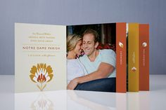 Wedding invite in booklet form! Personalized with photos of the bride and groom. fun!