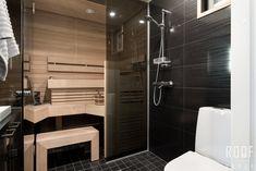 Tummat seinäpinnat ovat kylpyhuoneen moderni yksityiskohta. #roofgroup #sauna #kiinteistönvälitys #sisustus #bathroom #decor #kylpyhuone Alcove, Bathtub, Bathroom, Standing Bath, Washroom, Bathtubs, Bath Tube, Full Bath, Bath