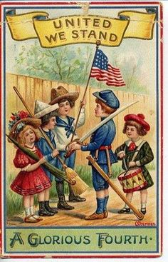 United We Stand, together we're adorable :) #vintage #4th_of_July #card