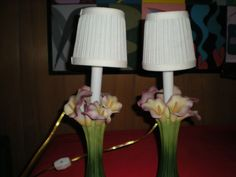 Mouse over image to zoom    Have one to sell? Sell it yourself  PAIR OF BOUDOIR LAMPS IN CALLA LILY MOTIF