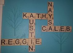Scrabble tile wall hanging ! We love making these