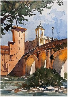 Thomas W Schaller Pons Fabricius - Day Two Sketch Two — at Rome, Italy.