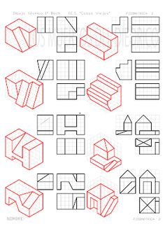 Isometric Drawing Exercises, Orthographic Drawing, Interesting Drawings, Christmas Border, Disney Background, Cad Drawing, Drawing Practice, Concept Architecture, Technical Drawing