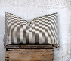 vintage blue and white ticking / feather pillow - classic farmhouse style decor.