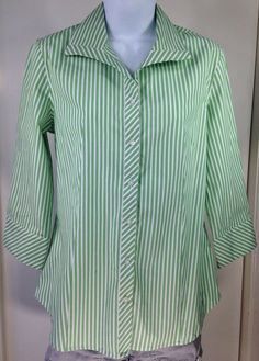 Talbots Green & White Stripe Long Sleeve Button Up The Front Blouse Shirt Size 6 #Talbots #Blouse