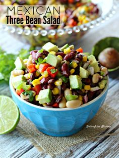 This Mexican Three Bean Salad is chock full of veggies, protein-rich beans, and southwest flavor. Enjoy it as a side dish for Taco Night, OR make it the main event by stuffing it into tortillas for a delicious meatless meal!
