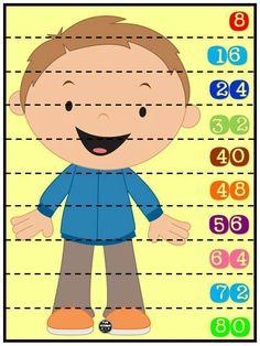 Rompecabezas numéricos para niños. Conteo de 8 en 8. Plastificar y recortar por la línea punteada.