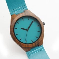 Dark Wooden Wristwatches with Blue Genuine Leather Band Japan Move' Quartz Watch | Features: Christmas Gift, Valentine Gift, Birthday Gift, Anniversary Gift