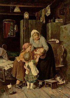 """""""The new baby"""" by Johann Georg Meyer von Bremen"""