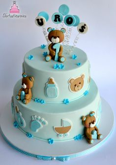baby shower cake with bear Gateau Baby Shower, Baby Shower Cupcakes, Shower Cakes, Baby Boy Cakes, Cakes For Boys, Girl Cakes, Fondant Cakes, Cupcake Cakes, Teddy Bear Cakes