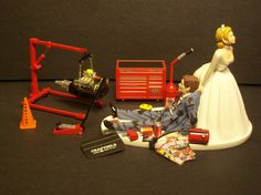 Getting this for my brother when he gets married! yes! AUTO MECHANIC MAC Tool Set W/Engine Stand Wedding Cake Topper Funny Grooms.