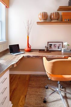 Orange and White Home Office I like the wood desktop. Reclaimed Desktop - Contemporary Orange and White Home Office on HGTVI like the wood desktop. Reclaimed Desktop - Contemporary Orange and White Home Office on HGTV Mesa Home Office, Home Office Desks, Home Office Furniture, Bedroom Furniture, Furniture Ideas, Furniture Stores, Corner Office Desk, Furniture Makeover, L Shaped Office Desk