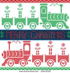 Dark blue, red and green Merry Xmas  Scandinavian Christmas Nordic Seamless Pattern with gravy train, gifts, stars, snowflakes, hearts, snow, in cross stitch pattern