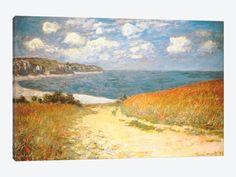 """Path Through The Corn At Pourville by Claude Monet Canvas Print 60"""" L x 40"""" H x 1.50"""" D"""