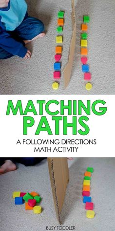 MATCHING PATHS: A simple activity for praciticing direction following and math vocabulary; preschool math activity; teaching ordinal numbers