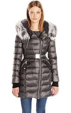 French Connection Women's Down Coat with Belt and Sherpa Lined Faux Fur Hood, Gunmetal, XL ❤ French Connection Women's Outerwear