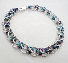Alternating Half Persian 3-in-1 (Sterling Silver & Niobium) | Maille Addiction
