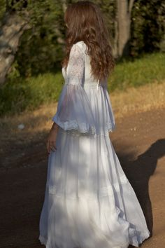 White Lace, Bell Sleeves, Boehmian Wedding Dress - Bella.  ----------SLEEVES