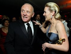 Actress Kate Winslet and Anthony Hopkins attend the 2009 Vanity Fair Oscar party hosted by Graydon Carter at the Sunset Tower Hotel on February 22...