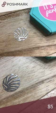 Origami Owl Medium zebra striped silver plate Brand new never used. This is a silver medium plate from Origami Owl. Will for a medium and Large Locket origami Owl  Jewelry