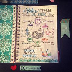 Mon Matin Miracle !!!!  Pour mon #bulletjournal !!! @halelrod #miraclemorning #inspiration #motivation #journal #inktober #bujo #abracadabe #visualisation #morning #miracle #loveyourself #happy #happiness #bonheur #bienetre #wellness #peace #exercices #affirmation #streching #bulletjournaljunkies #art #artjournal #illustration #typography