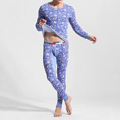 fa997f5703  US 38.59  Mens Cotton Soft Elastic Thermal Underwear Long Johns  mens   cotton