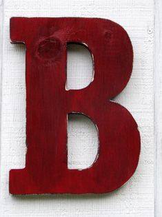Rustic Wooden Letter B Distressed True Red 12 by borlovanwoodworks, $33.00