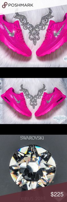 Swarovski Nike Air Max 90 - Bling Nike Shoes Pink Authentic Women's Nike Air Max 90 Ultra BR Shoes In Hot Pink!  Outer Logos Are Customized With HUNDREDS Of The Most Expensive SWAROVSKI® Crystals In The World- In ALL Different Sizes. Our Crystals Feature X-Cut Technology For Diamond-Like Brilliance And Shine.  Brand new in original box, purchased directly from an authorized Nike retailer.  Crystals have been applied with industrial strength glue. Will never come off.  For better pricing and…