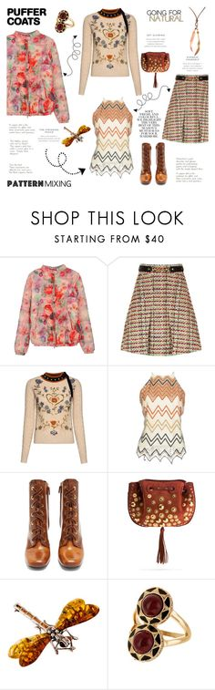"""""""Pattern Mix with Puffer Coat"""" by taci42 ❤ liked on Polyvore featuring Gucci, RED Valentino, Silvian Heach, Prada, Chloé, Be-Jewelled, Folio, House of Harlow 1960, Dsquared2 and patternmixing"""