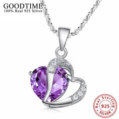 2016 New Luxury Princess 925 Sterling Silver Jewelry Purple Loving Heart Crystals Pendant Necklace Female For Valentine's Day Crystal Pendant, Love Heart, Bracelets, Valentines Day, Pendants, Pendant Necklace, Sterling Silver, Crystals, Silver Jewelry