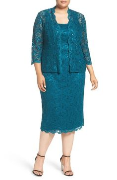 Alex Evenings Lace Dress & Jacket (Oversize) available at - Evening Dresses and Fashion Cocktail Dresses With Jackets, Plus Size Cocktail Dresses, Evening Dresses Plus Size, Lace Evening Dresses, Plus Size Dresses, Plus Size Outfits, Lace Dress Styles, Nice Dresses, Bodycon Dress With Sleeves