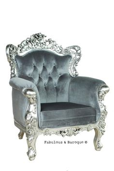 Belle de Fleur Chair - Silver & Grey chair. It's good to feel like royalty when the occasion calls for it.