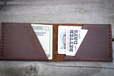 Leather bifold wallet by BetterDaysLeatherCo on Etsy