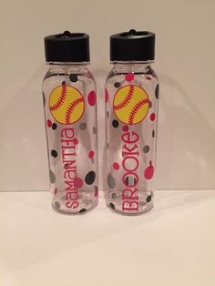 Personalized Softball Water Bottles Great by AtoZVinylCreations