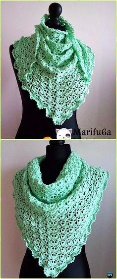 Crochet Spring Baktus Wrap Shawl Free Pattern Video - Crochet Women Shawl Sweater Outwear Free Patterns