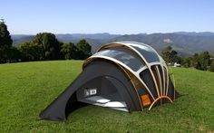 2 Seconds Easy Tent by Quechua This pop-up tent takes only two seconds of air time to plop back down to earth fully pitched. It's perfect for all the campers out there who prefer minimal effort . Tent Camping, Camping Hacks, Glamping, Outdoor Life, Outdoor Gear, Solar Powered Tent, Cool Tents, Amazing Tents, Green Computing